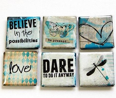 Believe Love Dare Set Of Six Magnets - Kelly's Handmade