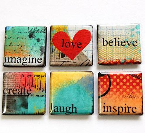 Love Image Inspire Set Of Six Magnets - Kelly's Handmade