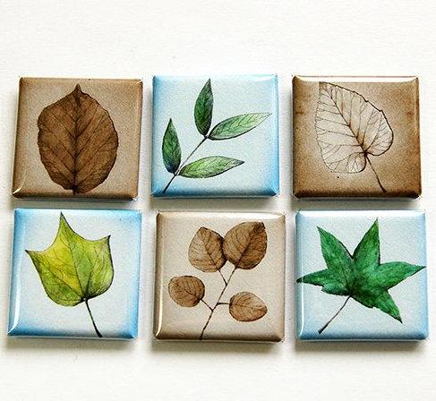 Leaves Square Set Of Six Magnets - Kelly's Handmade