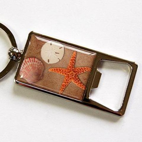 Beach Sea Shell Keychain Bottle Opener - Kelly's Handmade