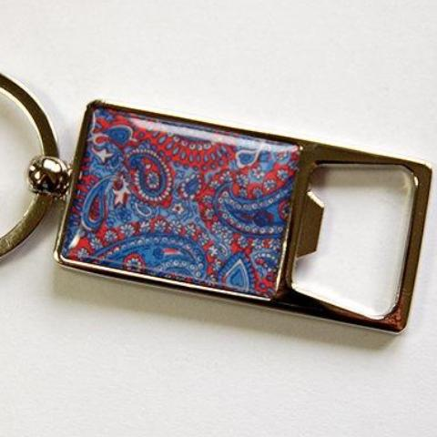 Paisley Keychain Bottle Opener in Blue & Red - Kelly's Handmade