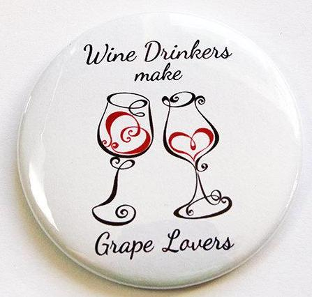 Grape Lovers Round Magnet - Kelly's Handmade