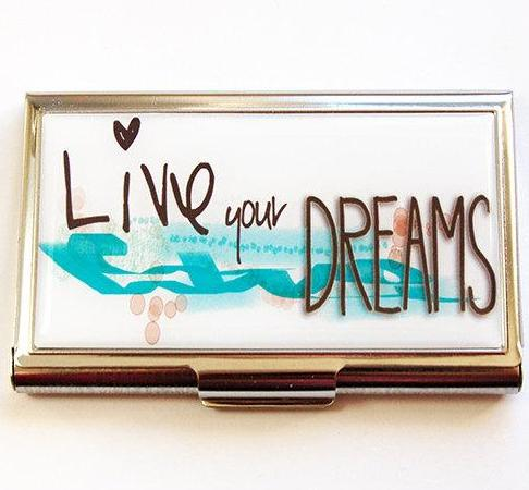 Live Your Dreams Business Card Case - Kelly's Handmade