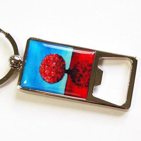 Abstract Trees Keychain Bottle Opener in Blue & Red - Kelly's Handmade
