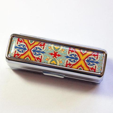 Venetian Print Lipstick Case in Gold Red & Green - Kelly's Handmade