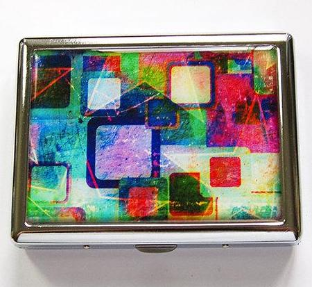 Abstract Design Compact Cigarette Case in Green & Pink - Kelly's Handmade