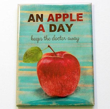 An Apple A Day Rectangle Magnet - Kelly's Handmade