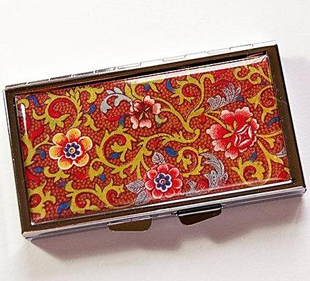 Venetian Floral Print 7 Day Pill Case in Brown - Kelly's Handmade