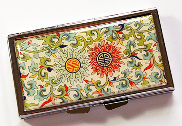 Venetian Floral Print 7 Day Pill Case in Pale Yellow & Green - Kelly's Handmade