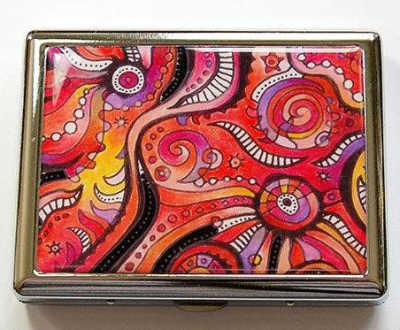 Abstract Design Compact Cigarette Case in Red & Orange - Kelly's Handmade