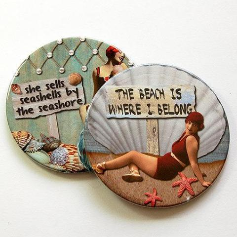 Beach Babe Retro Coasters Set 6 - Kelly's Handmade