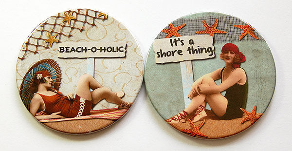 Beach Babe Retro Coasters Set 3 - Kelly's Handmade