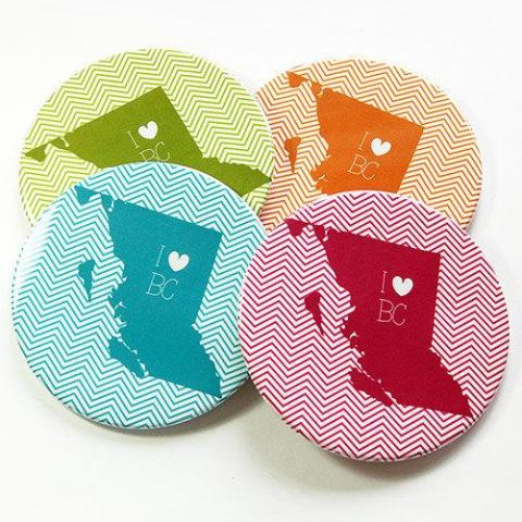 I Love British Columbia Coasters - Kelly's Handmade