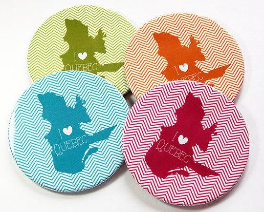I Love Quebec Coasters - Kelly's Handmade