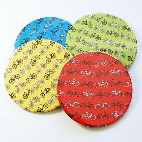 Bicycle Coasters in Bright Colors - Kelly's Handmade