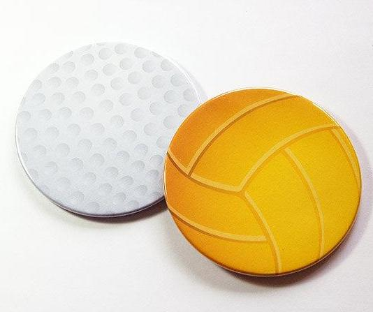 Sports Coasters - Gold & Volleyball - Kelly's Handmade