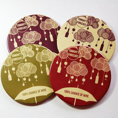 100% Chance of Wine Coasters - Kelly's Handmade