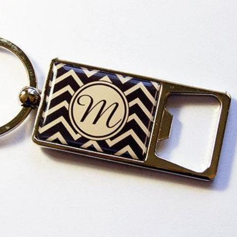 Chevron Monogram Keychain Bottle Opener - Kelly's Handmade