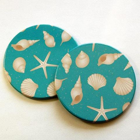 Seashell Coasters in Blue - Kelly's Handmade