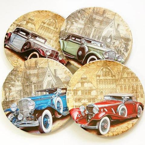 Vintage Car Coasters - Kelly's Handmade