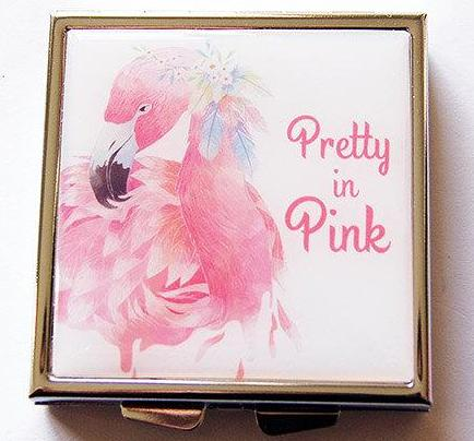Flamingo Pretty In Pink Square Pill Case - Kelly's Handmade
