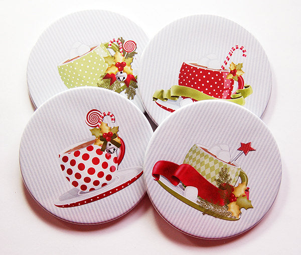 Christmas Coffee Coasters in Red & Green - Kelly's Handmade