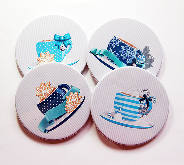 Christmas Coffee Coasters in Blue - Kelly's Handmade