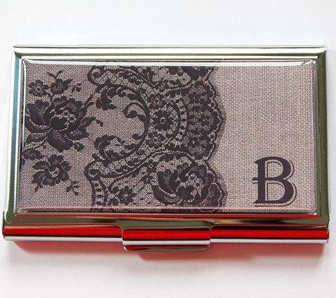 Lace Monogram Business Card Case in Brown - Kelly's Handmade