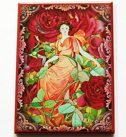 Woman in Flowers Large Pocket Mirror in Red - Kelly's Handmade