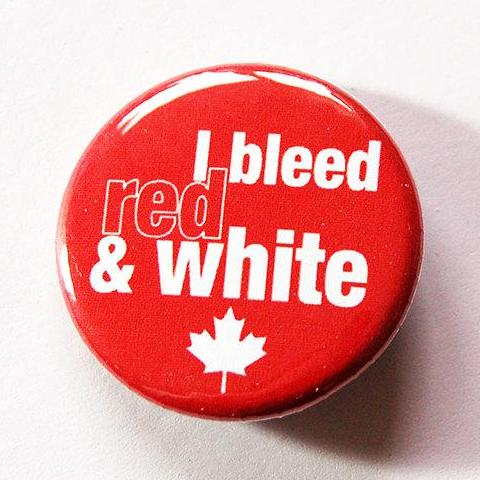 I Bleed Red & White Canada Pin - Kelly's Handmade