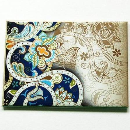Paisley Large Pocket Mirror in Blue - Kelly's Handmade