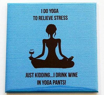 Yoga And Wine Magnet - Kelly's Handmade