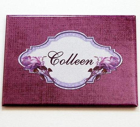 Classic Design Personalized Large Pocket Mirror in Purple - Kelly's Handmade