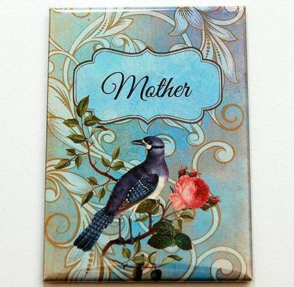 Elegant Bird & Rose Personalized Large Pocket Mirror in Blue - Kelly's Handmade