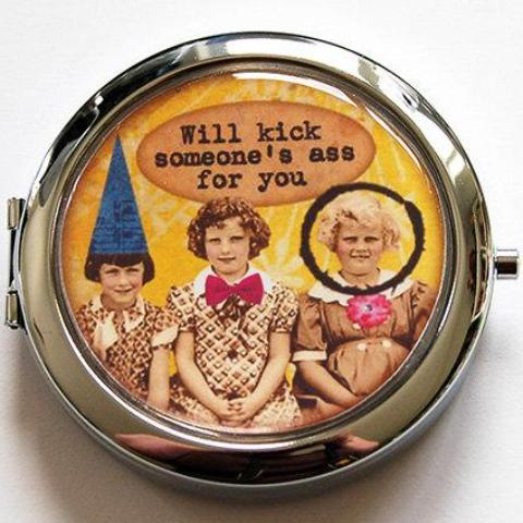 Kick Ass Funny Compact Mirror - Kelly's Handmade