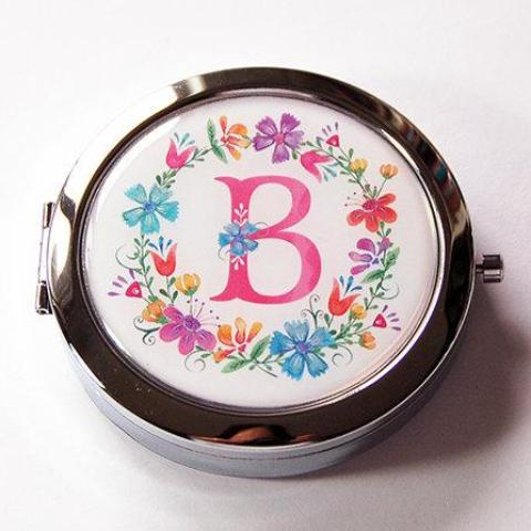 Multi-Color Wreath Monogram Pill Case With Mirror - Kelly's Handmade