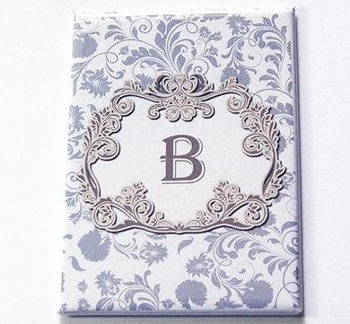 Monogram Large Pocket Mirror in Grey - Kelly's Handmade