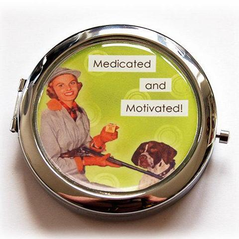 Medicated & Motivated Pill Case With Mirror - Kelly's Handmade
