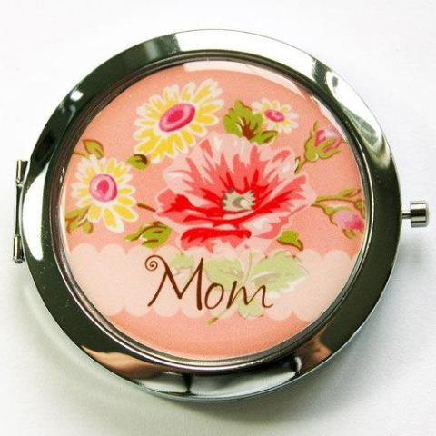 Floral Personalized Pill Case With Mirror in Peach - Kelly's Handmade