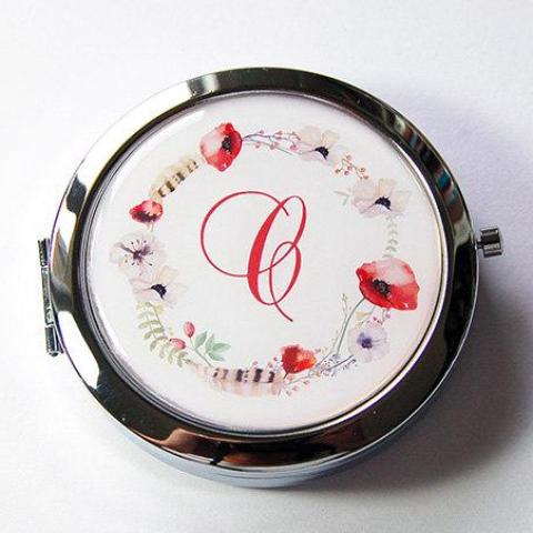 Poppy Wreath Monogram Pill Case With Mirror - Kelly's Handmade