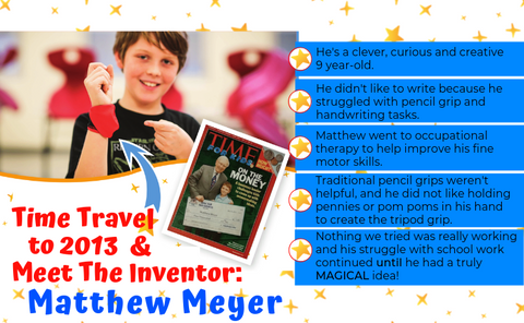 Inventor of Grip Wizard handwriting pencil grip fine motor skill glove