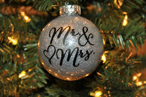 christmas ornament newlyweds glitter ball mr mrs sparkly bauble