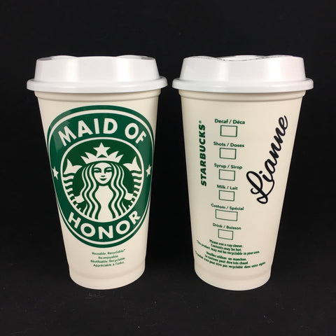 Bridesmaid Starbucks Cup Moh Personalized Coffee Mug Gift Bridal Party Reusable Cup Coffee Wedding Gift Bridesmaid Maid Of Honor Proposal