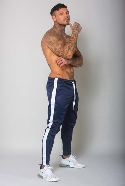Cerus Navy Jogging Bottoms with White Stripe-Cerus