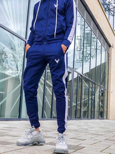 Cerus Navy Theo Jogging Bottoms with White Stripe-Cerus
