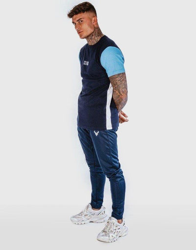 Cerus Navy Nero T-Shirt with Blue Sleeves-Cerus