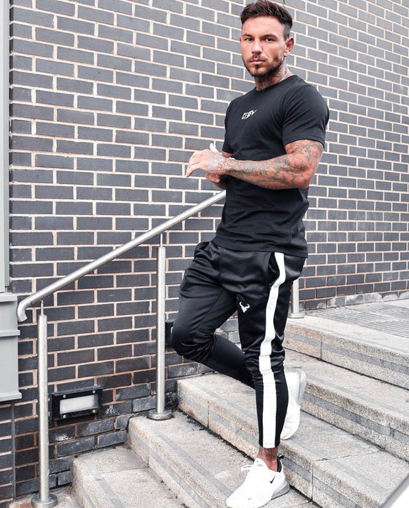 Cerus Black Muscle Fit T-Shirt with White small print logo-Cerus
