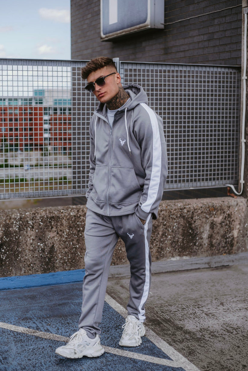Cerus Mauve Grey Theo Jogging Bottoms with White Stripe-Cerus