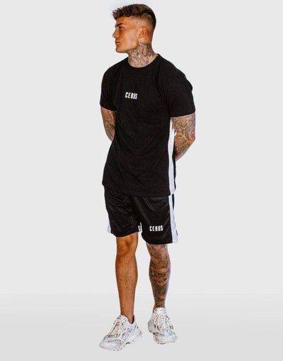 Cerus Black Nero T-Shirt with White Stripe-Cerus