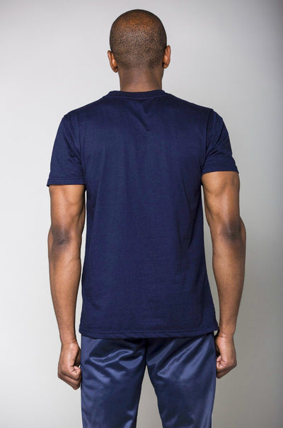 Cerus Navy Muscle Fit T-shirt with White small print logo-Cerus